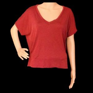 American Eagle Maroon Crop/Dolman Top